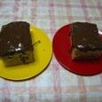 赤と黄のお皿のチョコパウンド